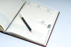 Blank, opened agenda stock photo