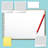 Blank opened book. Blank book with pencil. Photo frame . Royalty Free Stock Photos