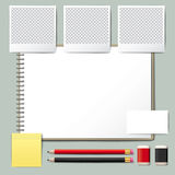 Blank opened book. Blank book with pencil. Photo frame . Note pad. use for graphic, creative, business, education, illustration stock illustration