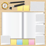 Blank opened book. Blank book with pencil. Photo frame . Stock Photos