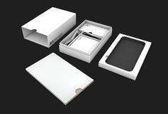 Blank opened box package for mobile phone isolated on black background, Illustration Royalty Free Stock Photos