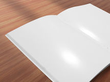 Blank opened brochure on wooden background Stock Photography