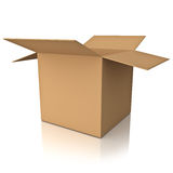 Blank opened cardboard box over white background Royalty Free Stock Photography