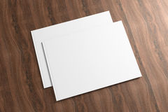 Blank Opened Catalog on the wooden Background Stock Photography
