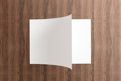 Blank Opened Catalog on the wooden Background Royalty Free Stock Image