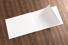 Blank Opened Catalog on the wooden Background. For your design Stock Image
