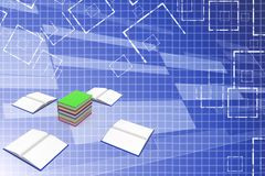 Blank opened and closed books Illustration Royalty Free Stock Image
