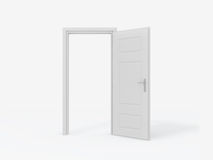 Blank Opened Door. Single white opened door on white background Royalty Free Stock Images
