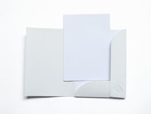 Blank opened folder with document  on white Stock Photo