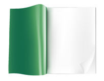 Blank opened magazine. Green blank opened magazine on white background Stock Images