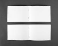 Blank opened magazine  on grey background Royalty Free Stock Photos