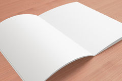 Blank opened Magazine on the wooden Background Royalty Free Stock Image
