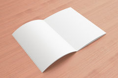 Blank opened Magazine on the wooden Background Royalty Free Stock Photo