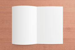 Blank opened Magazine on the wooden Background. For your design Royalty Free Stock Images