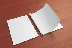 Blank opened Magazine on the wooden Background. For your design Royalty Free Stock Photo