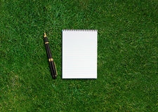 Blank opened notebook Stock Photo