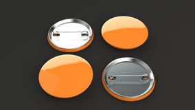 Blank orange badge on black background. Pin button mockup. 3D rendering illustration Stock Photo
