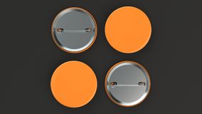 Blank orange badge on black background. Pin button mockup. 3D rendering illustration Royalty Free Stock Photo