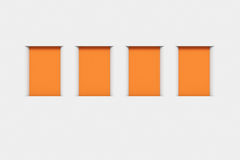 Blank orange frames on the wall Royalty Free Stock Images