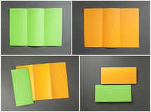 Blank orange and green folding paper flyer Royalty Free Stock Photos