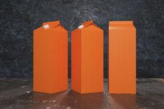 Blank orange milk/juice packagings Stock Image