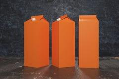 Blank orange milk/juice packagings. Several blank orange carton packagings for milk/juice on dark background. Ad concept. Mock up, 3D Rendering Stock Image
