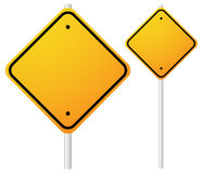 Blank Orange Roadsigns with empty space on metal poles. Smaller, Stock Photo