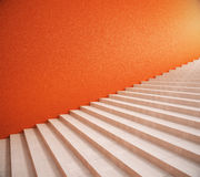 Blank orange wall and stairs. Side view of interior with bright orange wall and stairs. Mock up, 3D Rendering Royalty Free Stock Image