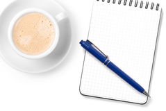 Blank organizer with pen and cappuccino cup Royalty Free Stock Images