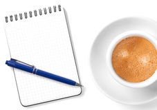 Blank organizer with pen and coffee cup Stock Photo