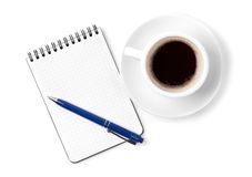 Blank organizer with pen and espresso cup Royalty Free Stock Photos