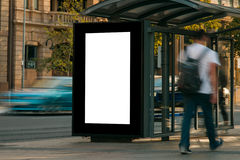 Blank outdoor advertising bus shelter Stock Photo