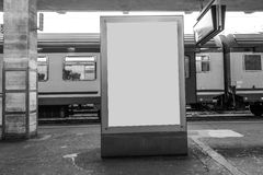 Blank outdoor advertising display placard at train station. Royalty Free Stock Photos