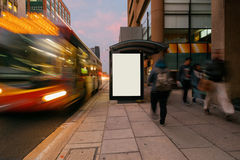 Blank outdoor advertising shelter Royalty Free Stock Photos
