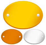 Blank Oval Gold, bronze and silver plaques with rivets Stock Photography