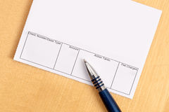 Blank Overdraft Bank Statement. With pen Royalty Free Stock Photo