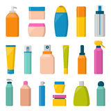 Blank package container dummy collection bottle template flat vector illustration. Stock Photos