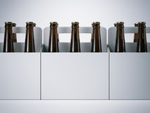 Blank packages with beer bottles. 3d rendering Royalty Free Stock Images
