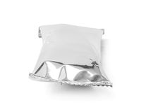 Blank packaging aluminium foil snack pouch isolated on white Royalty Free Stock Image
