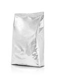 Blank packaging aluminum foil pouch isolated on white background Stock Photos