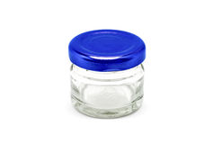 Blank packaging clear glass bottle with blue aluminum cap Stock Images