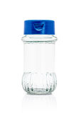 Blank packaging clear glass bottle and blue cap Royalty Free Stock Photos