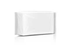 Blank packaging paper wet wipes pouch isolated on white Royalty Free Stock Photos