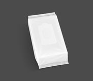 Blank packaging paper wet wipes pouch in top view Stock Photos