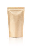 Blank packaging recycle kraft paper pouch. Isolated on white background with clipping path Royalty Free Stock Photo