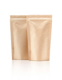 Blank packaging recycle kraft paper pouch isolated on white Stock Image