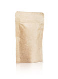 Blank packaging recycled kraft paper pouch isolated on white Royalty Free Stock Photos