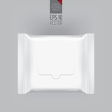 Blank packaging template mockup  on grey. Blank packaging wet wipes  on grey background. Foil cosmetic bag. Package template. Realistic 3d mockup. Plastic pack Stock Image