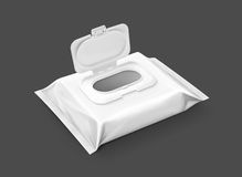 Blank packaging wet wipes pouch isolated on gray background Stock Photo