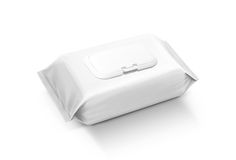 Blank packaging wet wipes pouch on white background Stock Photography